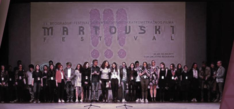 Deset studenata ALUM-a sa prve i druge godine smera Menadžment umetničke produkcije i medija učestvovalo je u organizaciji 64. Beogradskog festivala dokumentarnog i kratkometražnog filma, koji je ove godine trajao od 30. marta do 2. aprila.  Učešće u popularnom Martovskom festivala deo je stručne prakse koju studenti ALUM-a imaju priliku da steknu već tokom studija i predstavlja vredno iskustvo za njih. U ulozi organizatora našli su se studenti ALUM-a: <strong>Ana Antonić, Anđela Bulajić, Anđela Kovljenić, Lija Stojković, Mila Omčikus, Nađa Šoškić, Vojin Grbović, Dejan Đurđević, Đorđe Đurišić i Mihailo Bukvić</strong>.</p> <p><img class=