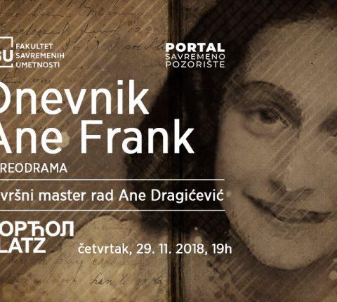 """Dođite na predstavu """"Dnevnik Ane Frank"""" u Dorćol Platzu"""