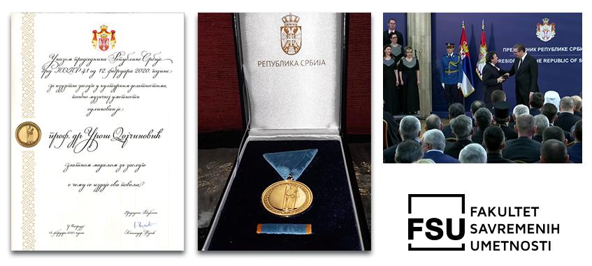 Odlikovanje i zlatna medalja profesora Uroša Dojčinovića