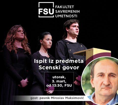 Pesnik Miroslav Maksimović, gost na ispitu iz scenskog govora studenata glume sa FSU