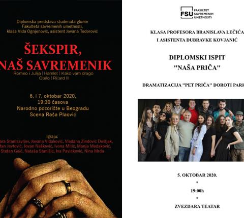 Ispitne predstave studenata glume sa FSU u Zvezdara teatru i Narodnom pozorištu
